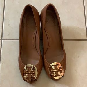 Size 8.5 peep toe Tory Burch Wedges.